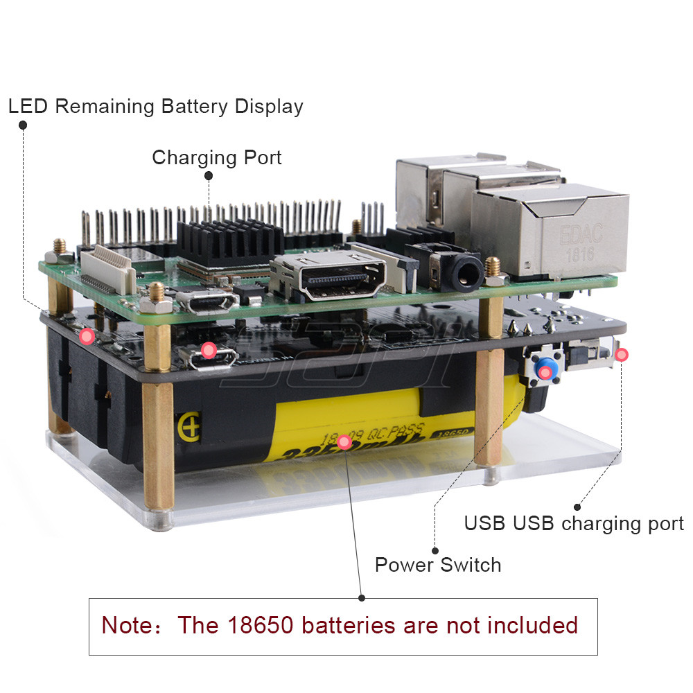 Details about UPS Uninterruptible Power Supply 18650 Battery Charger for  Raspberry Pi 3B/3B +