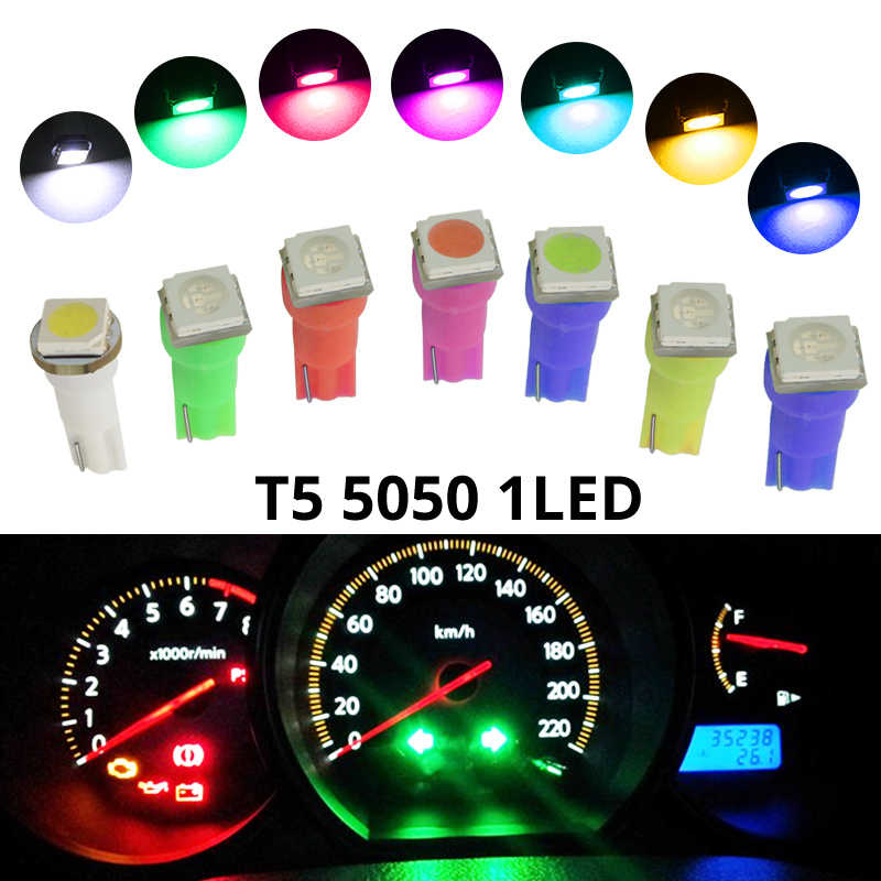 20Pcs W3W W1.2W T5 W2X2.6d 5050 SMD LED Car Board Instrument Panel Lamp Auto Dashboard Warming Indicator Wedge Light Bulb DC12V