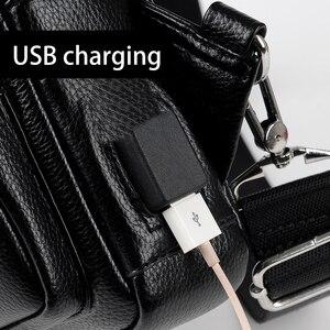Image 5 - 2019 Jackkevin Mode Heren Schoudertas Inbraakpreventie Zwart Lederen Heren Borst Zak USB Opladen Crossbody Tassen Reistas