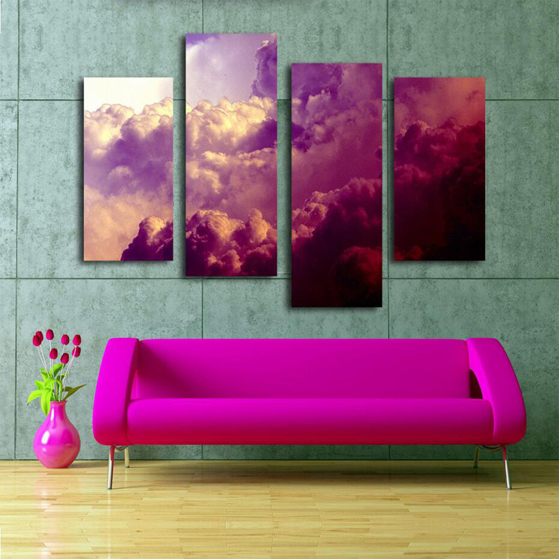 Pretty 4 Pieces Clouds Landscape Oil Painting Wall Art Home ...