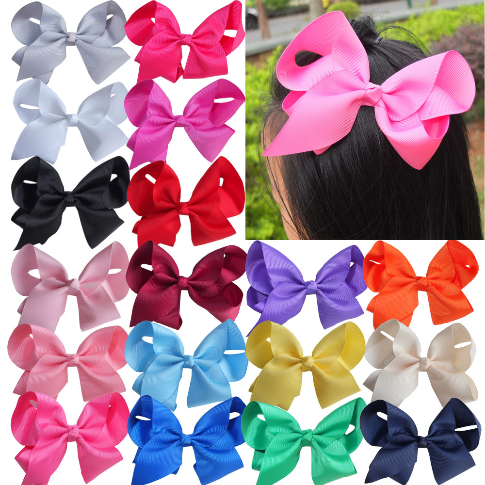 40 PCS 6 inch Large hair bow Hair clips Hairbows Boutique Kids Girls Hairpins Hair Barrettes