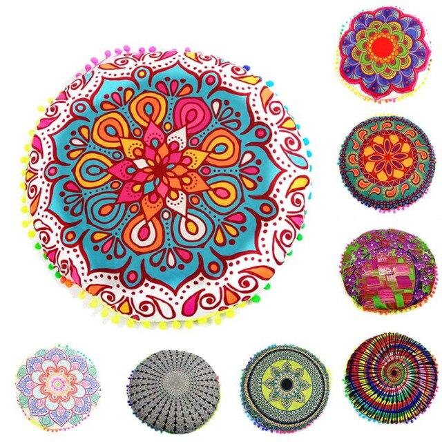 nouveau design multicolore indien mandala bleu fleur oreillers de plancher ronde boheme coussin coussins oreillers couverture