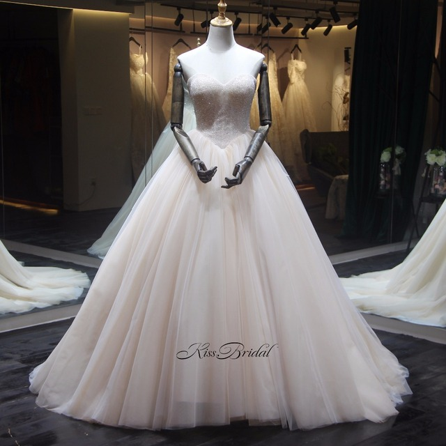 Good Quality A-line Wedding Dress 2018 Corset back Full Beading Sweetheart Tulle Wedding Bridal Gown