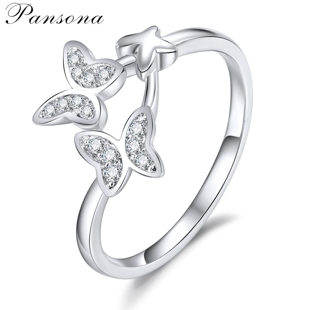 2018 New Fashion Butterfly Wedding Rings Zircon S925 Making Silver Finger Ring For Women Original Jewelry Gift RG032
