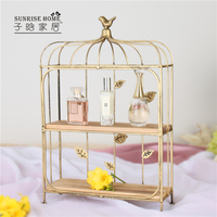 European creative bird cage dessert rack wrought iron wedding table decoration cup cake stand multilayer West Point display