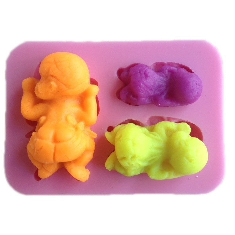 Luyou 3D Sleeping Baby Silicone Mold Fondant Mold For Cake Decorating Tools 3 Baby Modeling Embossed Fondant Mold FM114