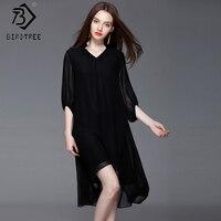 Batwing Sleeve Women S Dress 2018 Elegant Female V Neck Chiffon Irregular Spring Black Dress Good
