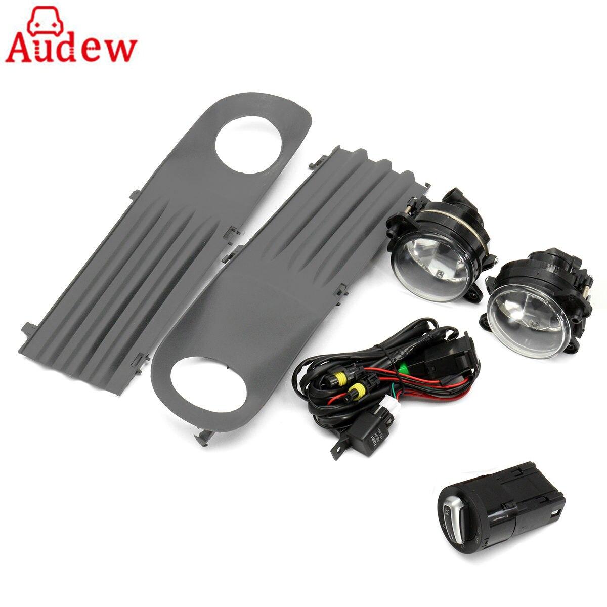 цена на Amber Car Front Foglight Grille Kit Set w/ Wiring Headlight Switch H11 Fog Light Bulb For VW T5 TRANSPORTER 2003-2010