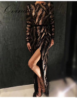 Black New Arrival Long Sleeve Mesh Leaf Sequins Slitted Side Women Dress Night Party Dress