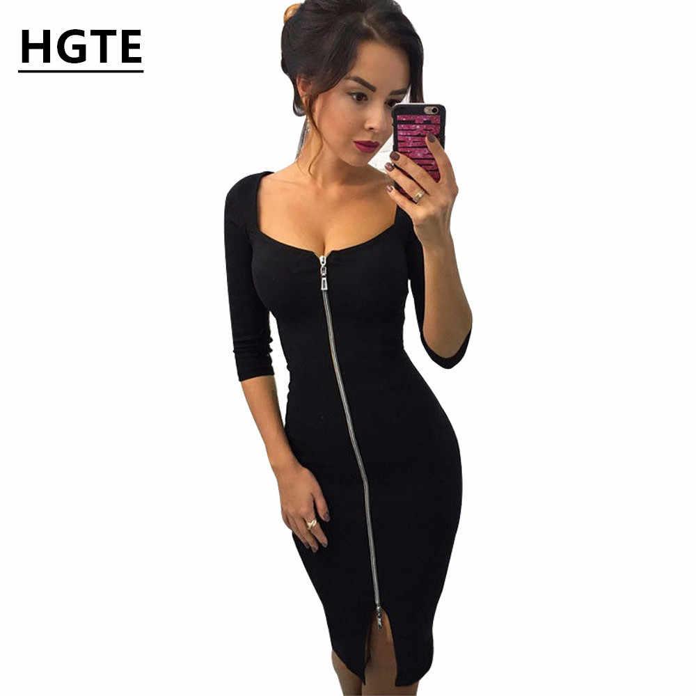 HGTE נשים סקסי מועדון נמוך לחתוך Bodycon שמלה אדום 2018 מקרית סתיו חורף רוכסן אופנה מסיבת שמלות שחור משרד עבודה