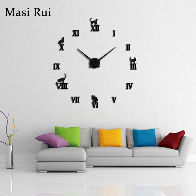 2018 hot sale 3d mirror big wall clock modern design Acrylic Living Room Quartz Needle wall watch Masi Rui clocks free shipping