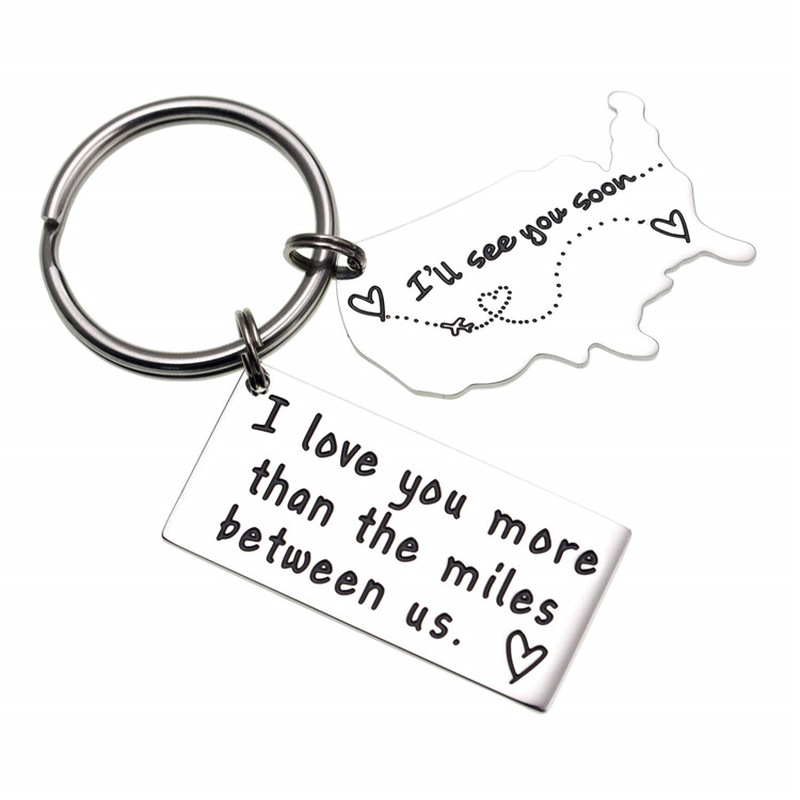 Personality Keychain Engraved SEE YOU SOON State to State, Long Distance Relationship, Long Distance For Friend Gift Keyring(China)