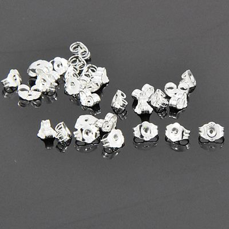 DIY Jewelry Findings Accessories Silver Ear Back Stoppers Ear Plug Cap 925 Stamped Butterfly Shape High