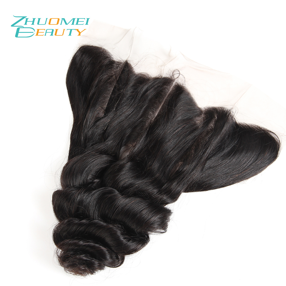 Zhuomei BEAUTY Lace Frontal Closure Peruvian Loose Wave 13*4 Free Part Ear To Ear Natural Colour 100% Remy Human Hair 10-20inch
