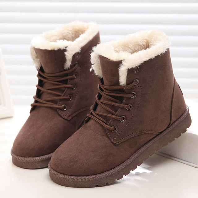 Women Flock Fur Flat Lace Up Winter Snow Suede Ankle Boots Female 2