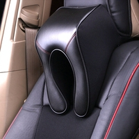 Universal Pillow Seat Neck Rest Headrest Genuine Leather Memory Cotton Fabric Upscale Neck safety Supports for Mercedes BMW Audi