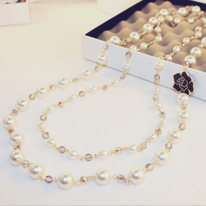 CX-Shirling Luxurious Full Pearl Long Chain Autumn Winter Sweater Fine Necklace Jewelry Quality Gifts Girs All Match