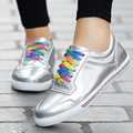Las mujeres Zapatos de Los Planos Marca Lace Up Casual Zapatos de Mujer 2016 nuevos Zapatos de Moda Femenina de Oro Comfort Zapatos de Los Planos de Cuero de Las Señoras 1639-2