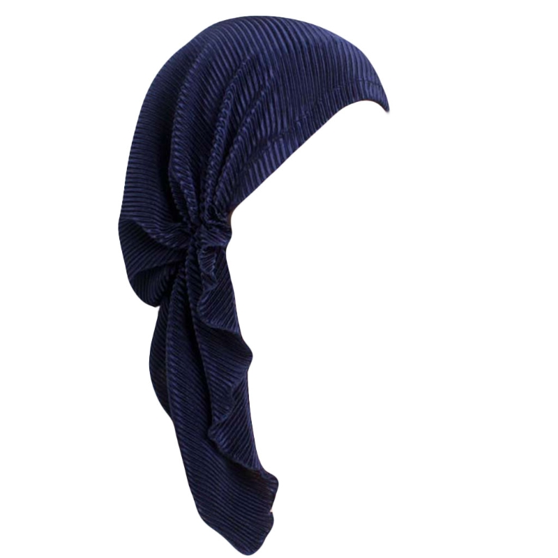 Turban Woman Fashion Chic Summer Scarf Pleated Tail Hood Cap Chemotherapy Cap