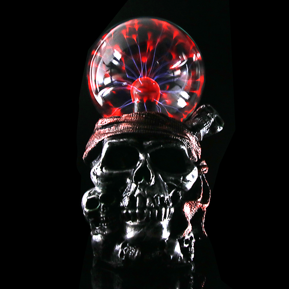 Pirate Skull with Red Bandana Statue Plasma Ball Lighting Gothic Skeletons Ornament Decor Piled Skulls Resin Figurine Buccaneer