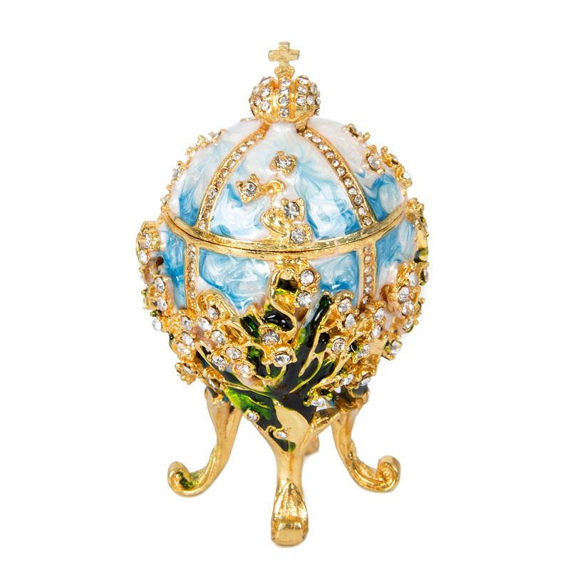 FLETCHER Brand Metal Exqusite Small Faberge Egg for Home Decoration