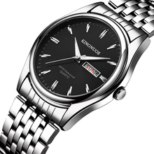 Kingnuos брендовые новые дизайнерские деловые мужские часы, стальные водонепроницаемые светящиеся часы с датой и датой, мужские кварцевые часы Hodinky