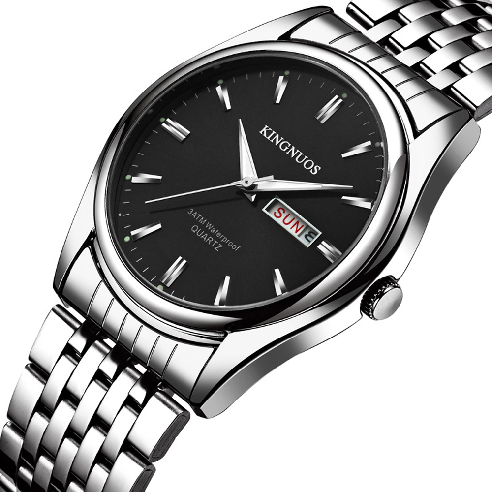 2018 Kingnuos Brand New Design Business Man Watch Steel Waterproof Luminous Hour Date Week Clock Male Hodinky Quartz Men's Watch brand design 2016 new man