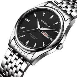 2019 kingnuos marca novo design homem de negócios relógio aço à prova dwaterproof água luminosa hora data semana masculino hodinky quartzo relógio masculino