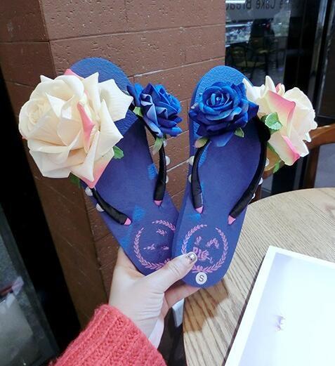 Women sandals  comfort sandals women Summer  fashion plus Flower Rose flat  sandals Flip flop sandal fashion sandals for women flat sandals jeans - title=