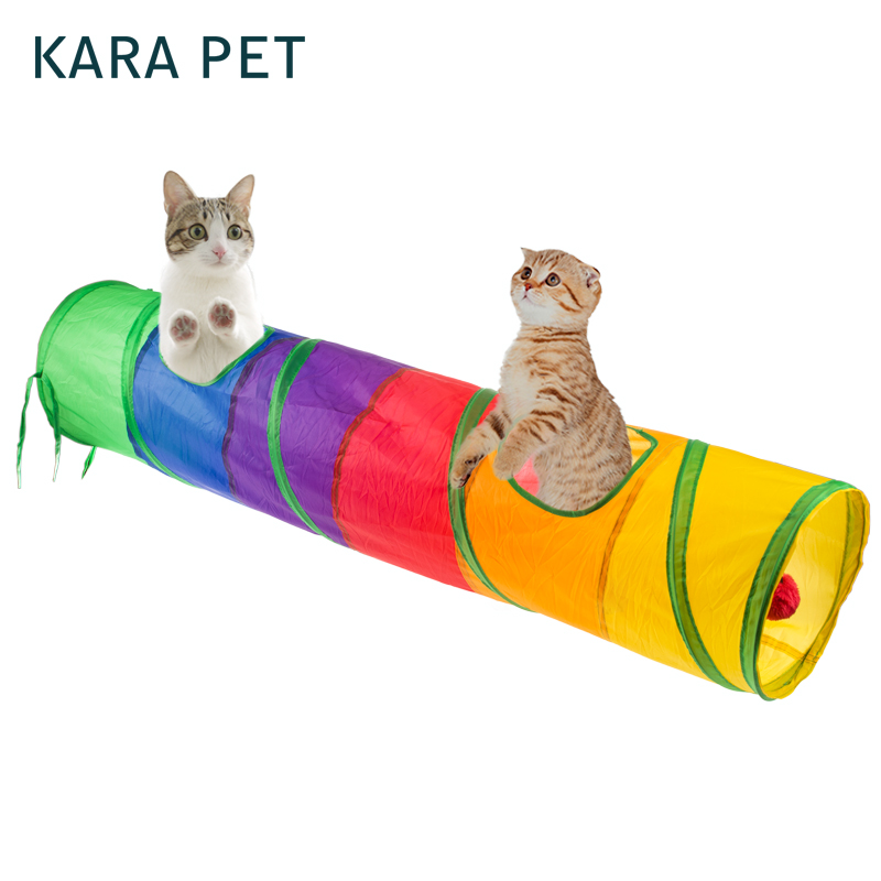 Funny Pet Tunnel Cat Play Tunnel Foldable 2 Holes Cat Tunnel With Ball Kitten Cat Toy Bulk Cat Toy Rabbit Play Tunnel
