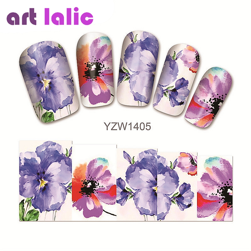 1 sheet Water Transfer Nail Art Sticker Decal Purple Azalea 3D Print Manicure Tips DIY Nail Foils Decorations 1405 1 sheet beautiful nail water transfer stickers flower art decal decoration manicure tip design diy nail art accessories xf1408