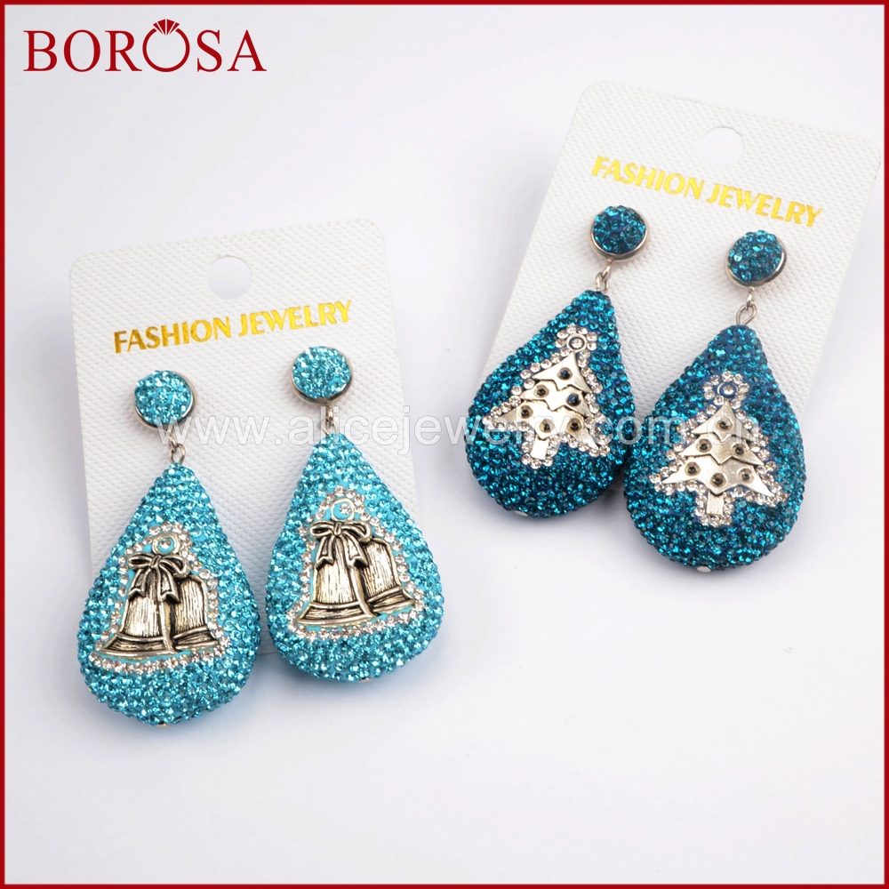 BOROSA Wholesale Fashion Druzy Drop Earrings for Women, New Rhinestone Pave Drop Dangle Earrings Gems Party Jewelry JAB807