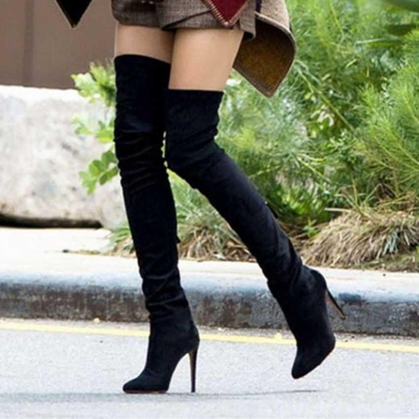 2019 Marca Camurça Trecho Da Coxa de Couro botas De Salto Alto Mulheres Botas de Inverno Saltos Stiletto Sexy Sobre o Joelho Botas Femininas sapatos