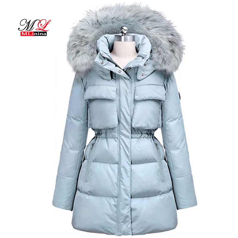 MLinina Women Winter 2018 Parka Slim Jacket Warm Thicken Jackets Hight Quality Fur Collar Coat Duck Down parka Female Outerwear