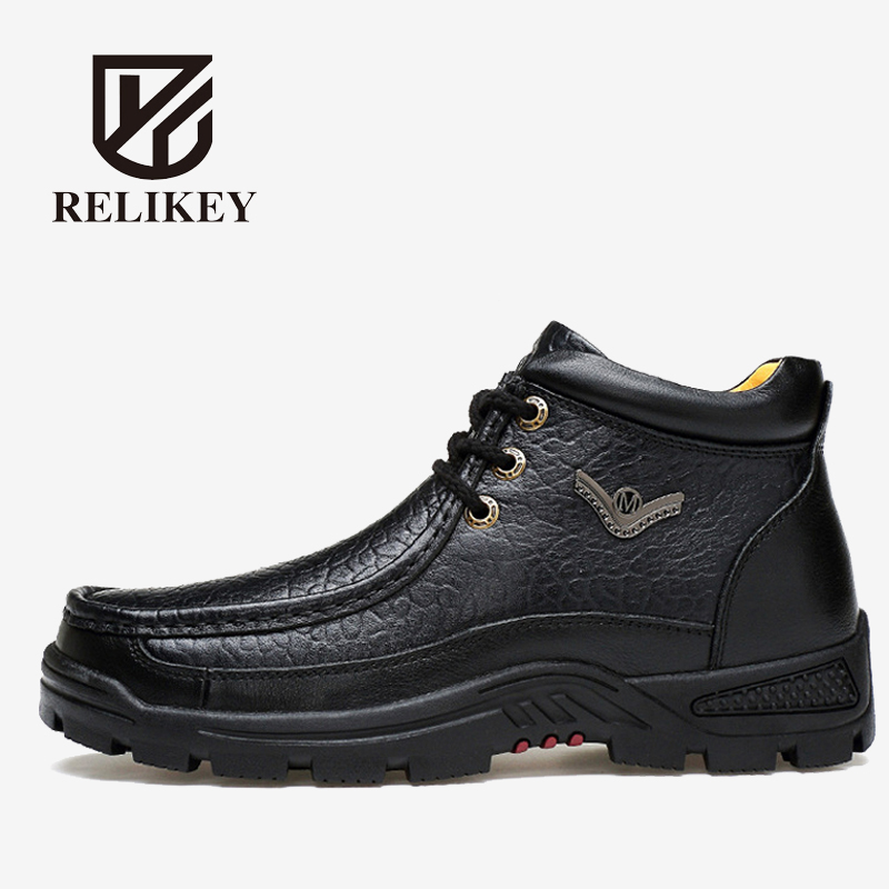 RELIKEY Brand Men Winter Boots High Quality Genuine Leather Warm Fashion Male Shoes Plush Handmade Big Size Ankle Boots Men new high quality pu leather winter boots men fashion warm cotton brand ankle boots shoes men for spring autumn winter shoes
