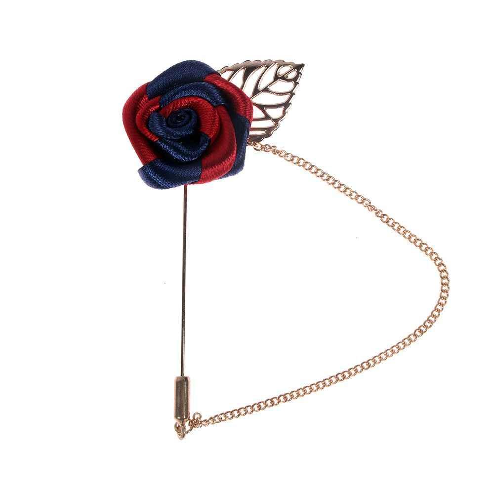 2019 ファッション男性はゴールド葉リボンバラブローチ襟花ロング針チェーン手作りラペルパイ