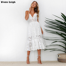 Fashion White Dress Women Summer 2018 Backless V Neck Strap Lace Dress Vintage Elegant vestidos de festa Long Beach Boho Dresses