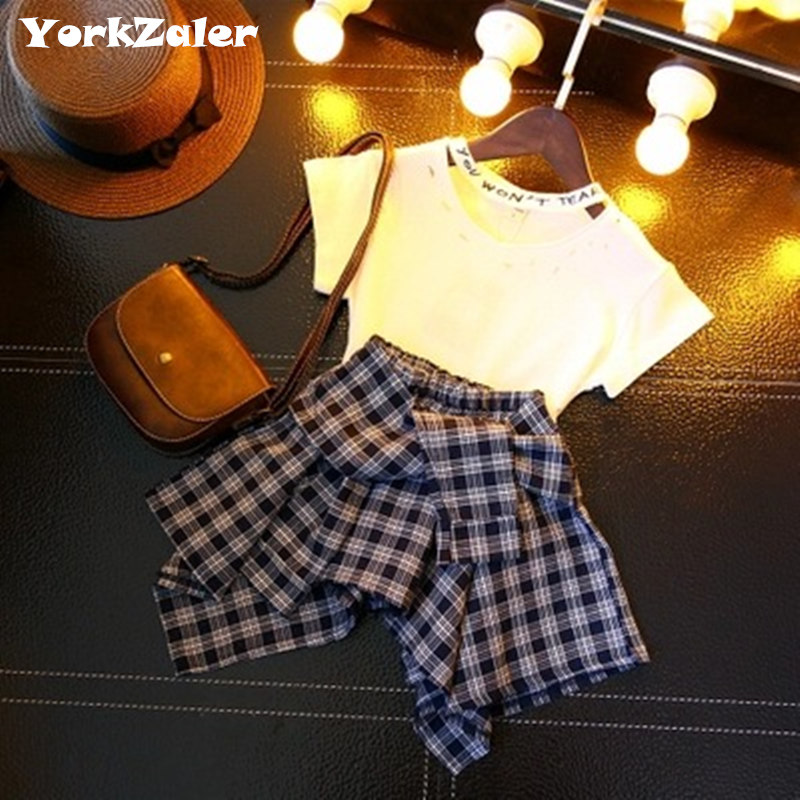 New Fashion Girls Clothes Set Summer Girls White T shirt & Plaid Irregular Skirt Baby Girl Sets Kids Clothes Children Set Retail 2017 new style fashion mom and girls short sleeve letter t shirt dot black skirt set summer kids casual clothes parenting 17f222