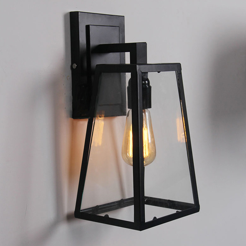 Nordic American Rural Outdoor Balcony Bedroom Bar Cafe Restaurant Creative  Glass Box Iron Golden Triangle Wall