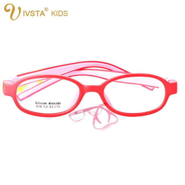 IVSTA 516 43-16 Silicone Meninas Óculos Crianças Quadro TR90 Óptico com retentor cinta Esportes Crianças meninos prescrição ambliopia