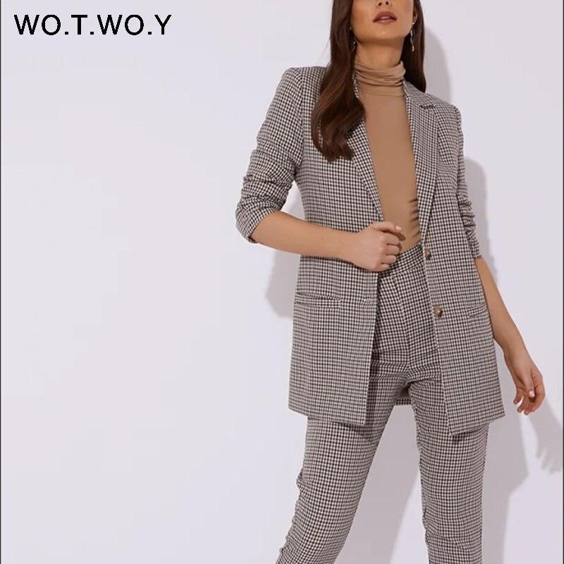 WOTWOY Autumn Winter Plaid Blazer Women Double Breasted Pocket Office Ladies Suit Coat Vintage Elegant Jacket Outerwear Female
