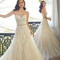 2016 милая шампанское кружева аппликация свадебное платье с бисером створки свадебные платья в наличии халат де Mariage