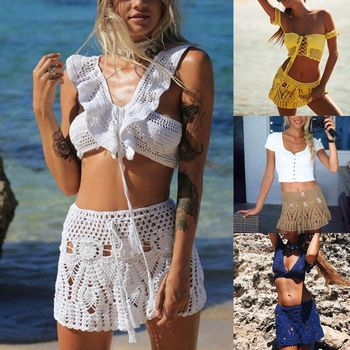 Womens Summer Handmade Lace Crochet Bikini Bottoms Skirt Solid Color Hollow Out Knitted Swimsuit Cover Up Ethnic Pattern Mini A- 8