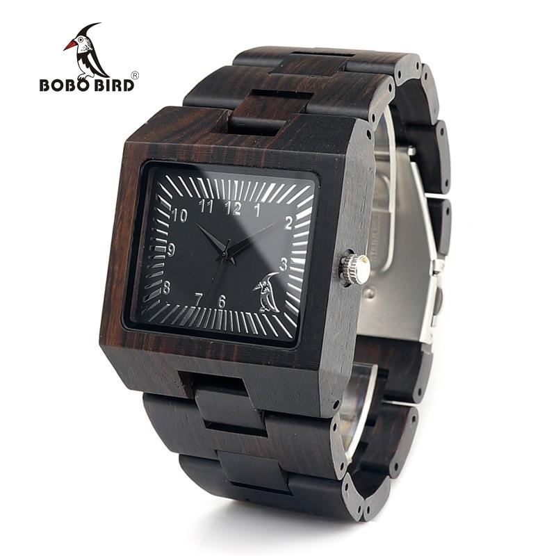 BOBO BIRD Luxury Top Brand Mens Watches All Black Wood Strap Japan Movement Quartz Wrist Watch relogio masculin C-L23