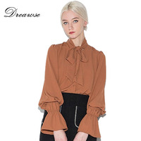 Dreawse Sexy Plus Size Neckline Bow Tie Lace Up Women Blouse Lantern Sleeve Solid Color Sweet