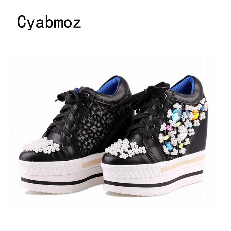 Cyabmoz Women Wedge Platform Shoes Woman Hidden Height increasing High heels Lace up Rhinestone Beads White Casual Ladies Shoes annymoli platform high heels lace up wedge shoes ladies pumps pointed toe lace up increasing heels shoes black white size 34 39