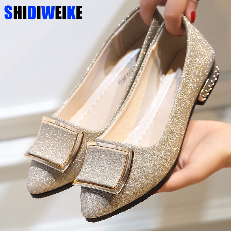 Women Flats Cool Golden Buckle Flat Shoes Women Loafers Ballet Flats Bling Bling Black Shoes Casual Pointed Toe Slipon N189