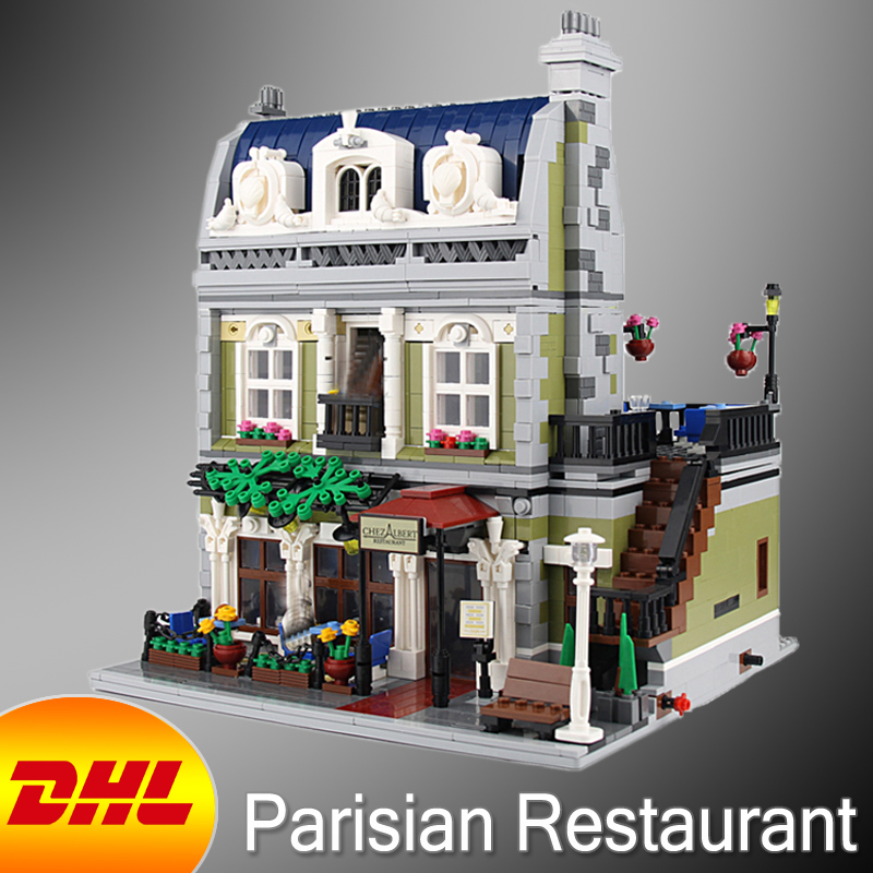 HF City Street Figures 2418Pcs Parisian Restaurant Model Building Kits Blocks Bricks Kid Toys For Children Compatible With 10243 dhl new 2418pcs lepin 15010 city street parisian restaurant model building blocks bricks intelligence toys compatible with 10243