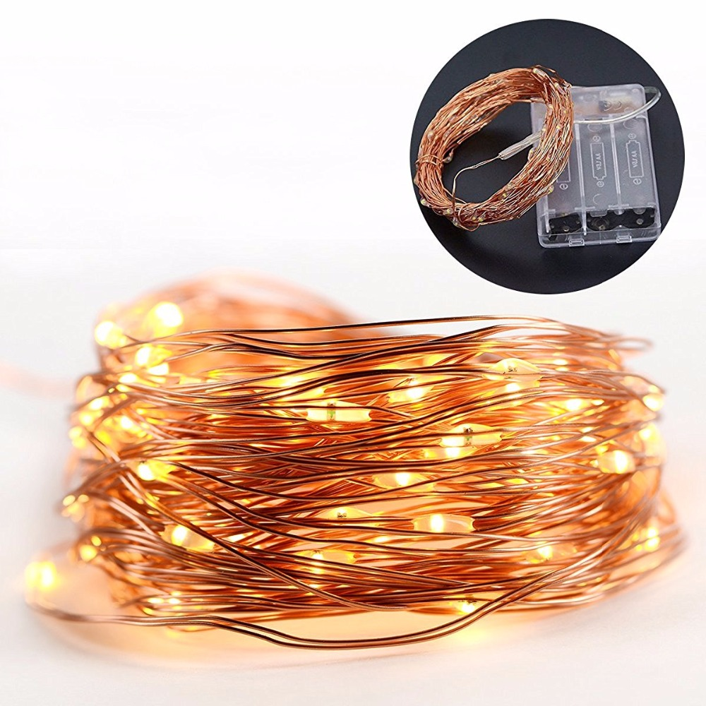 33ft 100 leds 4 5v battery string lights copper wire led. Black Bedroom Furniture Sets. Home Design Ideas