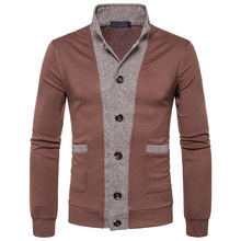 brand fashion men cardigan sweaters men's stand collar Long sleeves slim solid mens Color stitching casual cardigan sweaters
